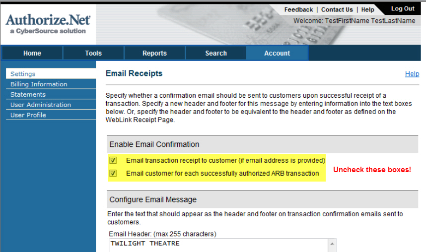 auth.net email receipts