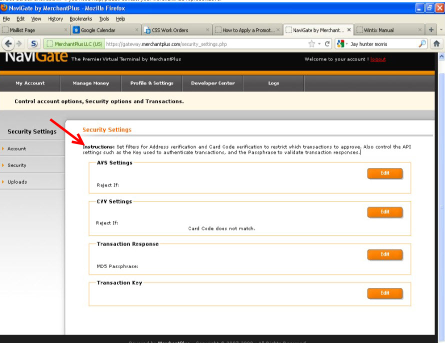 How to obtain a Login and Transaction Key in Merchant Plus' Navigate