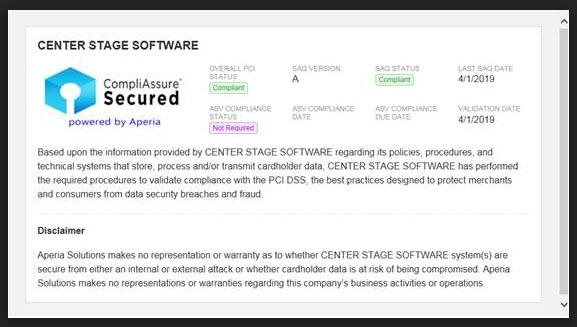 PCI seal | Center Stage Software Help Desk